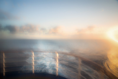 Cruise ship at sunrise in the South Pacific