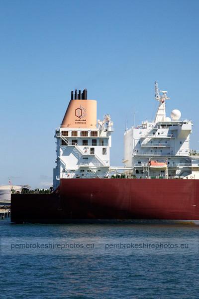 Gas Tanker on Milford Haven Waterway.