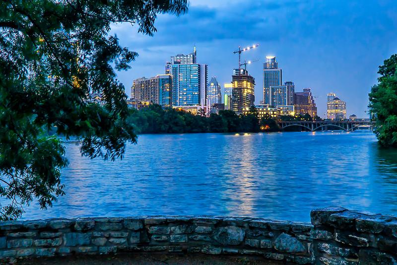 Austin city skyline at night