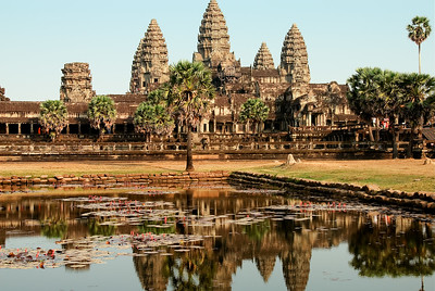 Reflecting pool showing main towers.-Angkor Wat-Cambodia