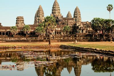 Reflecting pool showing main towers.-Angkor Wat-Cambodia