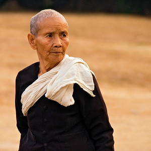 Buddhist nun in black robe-Angkor Wat-Cambodia