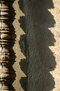 Shadow of column at Ankgor Wat-Angkor Wat-Cambodia