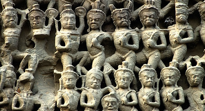 Bas-relief of monkey army-Angkor Wat-Cambodia