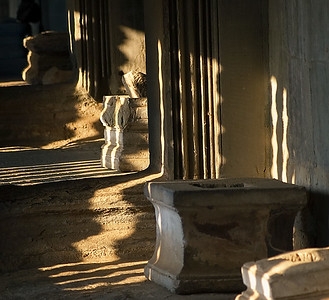 Shadows from setting sun inside gallery-Angkor Wat-Cambodia