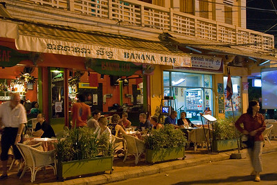 Exterior night picture of Banana Leaf restaurant-Banana Leaf Restaurant-Cambodia
