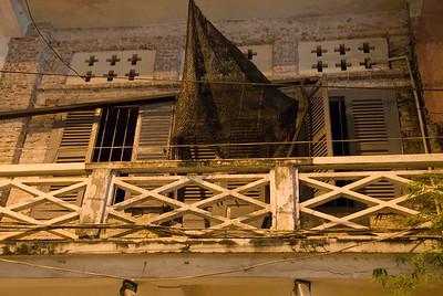 Exterior of second story balcony-Side Street-Cambodia