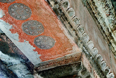 Ceiling detail with red decoration inside gallery-Angkor Wat-Cambodia