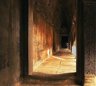 Interior of gallery at sunset-Angkor Wat-Cambodia