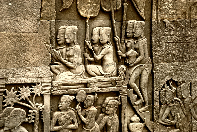 Bas-relief carving of Khmer women-Bayon Temple-Angkor-Cambodia