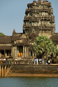 View across the moat of an outer tower at Ankgor Wat-Angkor Wat-Cambodia