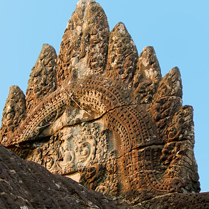 Carved stone building pediment-Angkor Wat-Cambodia