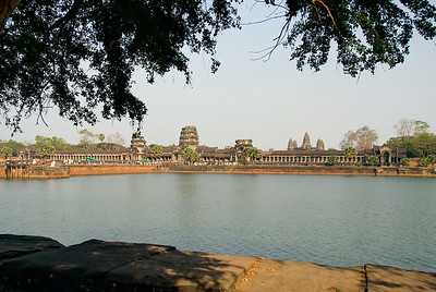 View of Angor Wat main temple complex across moat-Angkor Wat-Cambodia