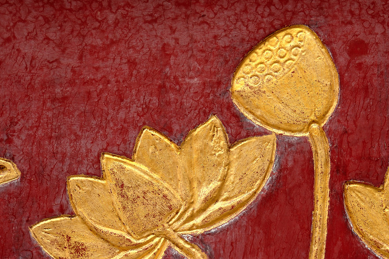 Gold lotus blossom and seedpod on red box-Chinese Settlement-Melaka-Malacca Town-Malaysia