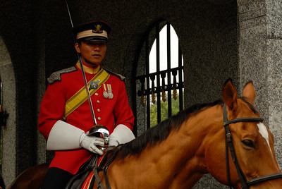 Guard in red jacket and sword on horseback-Istana Negara National Palace-Kuala Lumpur-Malaysia