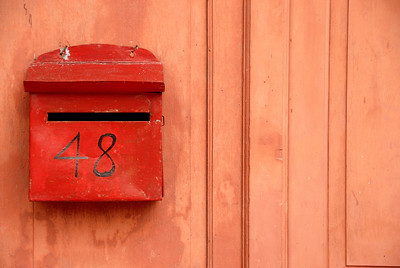 Red mailbox on wall-Chinese Settlement-Melaka-Malacca Town-Malaysia