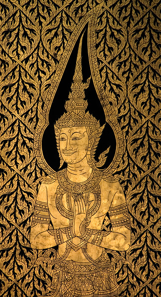 Wall detail of a Buddha inside the Golden Buddha temple-Wat Traimit-Bangkok-Thailand