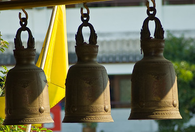 Three bells hanging inside the Golden Buddha temple-Wat Traimit-Bangkok-Thailand