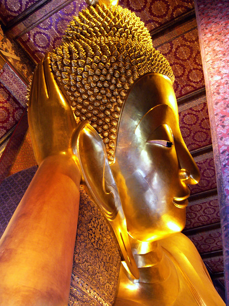 Head of the Reclining Buddha-Wat Pho - Temple of the Reclining Buddha-Bangkok-Thailand