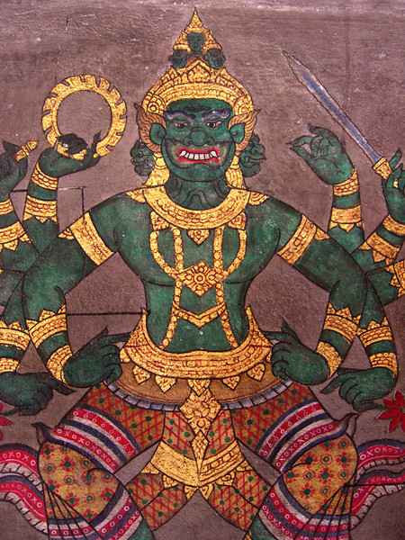 Painting of a demon-Wat Pho - Temple of the Reclining Buddha-Bangkok-Thailand