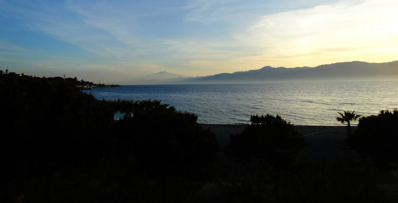 Mount Etna in Sicilia - view from Reggio Calabria, Italy