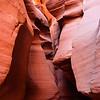 Slot canyon with person.  Antelope Canyon,  Arizona.