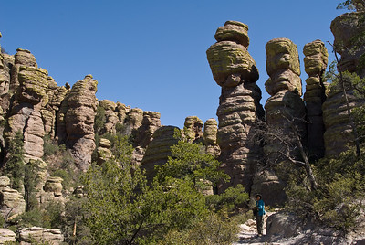 Twink and rock formation.  Echo canyon trail, Chiricahua NM,  Arizona.