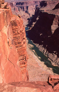 Toroweap is very vertical.  The Colorado river is seen 3000 feet below.  There are no guard rails.  Grand Canyon, Arizona.