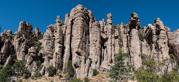 Rock formations at Chiricahua NM. in Az.  This is a panoramic of two photos. File size is about 183 MB.