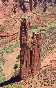 Spider rock from canyon rim.  Canyon De Chelly, Arizona.