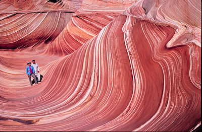 Self portrate of Richard and Adeline  at the Wave.  Coyote Buttes,  Paria Plateau,  Arizona.  Permit is required and is a four mile hike.