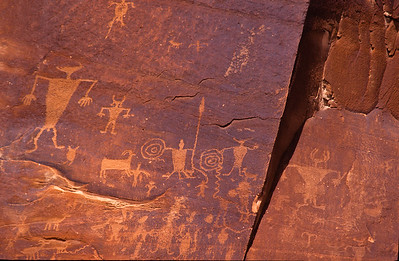 Rock petroglyphs in Canyon De Muerto.  Canyon De Chelly, Arizona.