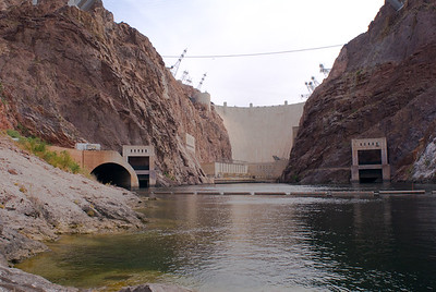 Hover dam from Colorado river looking north.  This is launch area for kayaks going downsteam into Black canyon.