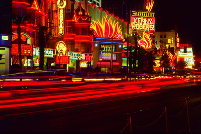 Night lights along Las Vegas strip.  Las Vegas, Nevada