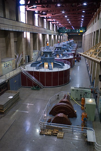 Hydro powered generators at hover dam.  Hover Dam, Nevada.