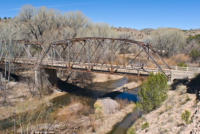 Abandon bridge over San Francisco River.  Ten miles north of Glenwood NM,  New Mexico.