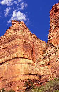 Rock climbers on wall face.  Zion NP, Utah.