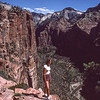 Denise Bumann from top of Eagles nest.   Zion Canyon NP, Utah.  1982