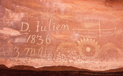 Denis Julien was a fur trapper that worked the Green and Colorado rivers.  For unknown reasons, he chose to paddle his boat up river instead of going with the current.   Hell Roaring Canyon, Green river, Utah.