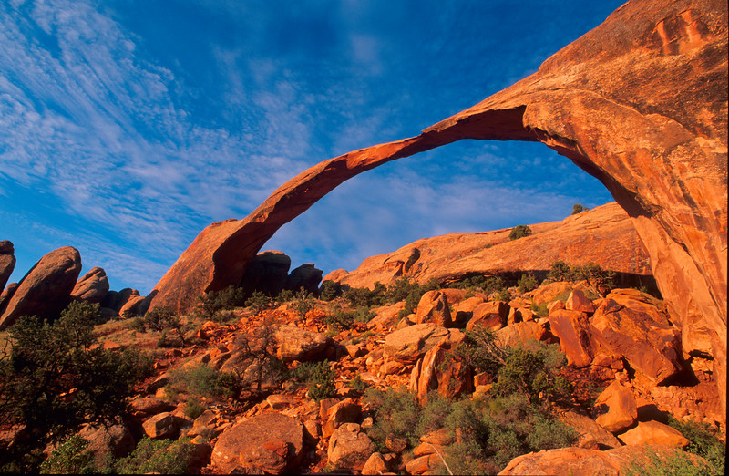 Landscape arch.  This was our third attemp to photograph this arch in morning light.  This time we walked in by flashlight and were rewarded by this stunning view.   Arches NP, Utah.