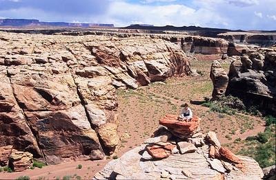 Grandson Dan Brooks and I kayaked 104 miles down the Green river.  We walked up this canyon as a day hike.  This is about day four of a ten day adventure.  Somewhere on the Green river,  Utah.