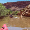 Several side canyon required exploring.  This one extended about 1/2 mile.  Dan Brooks in lead kayak.  Cabin Bottom, Green River, Utah.