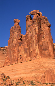 The Three Gossips.  Courthouse section, Arches NP, Utah