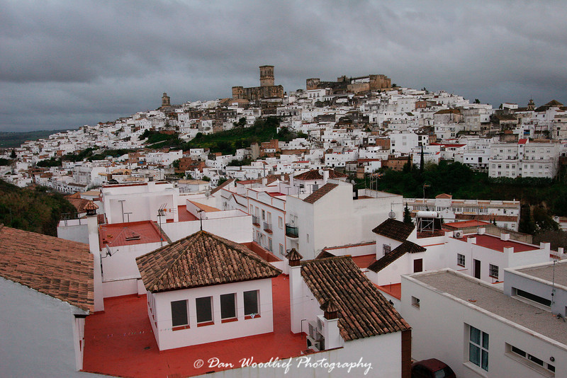 A view of the historic center over the rooftops of a newer part of town.