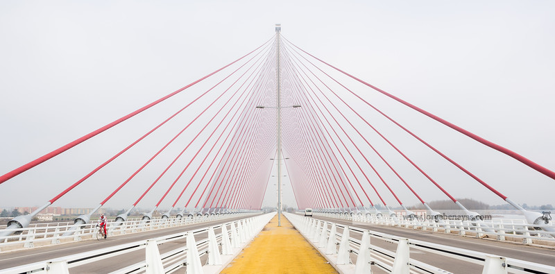 Ciclista en el puente atirantado
