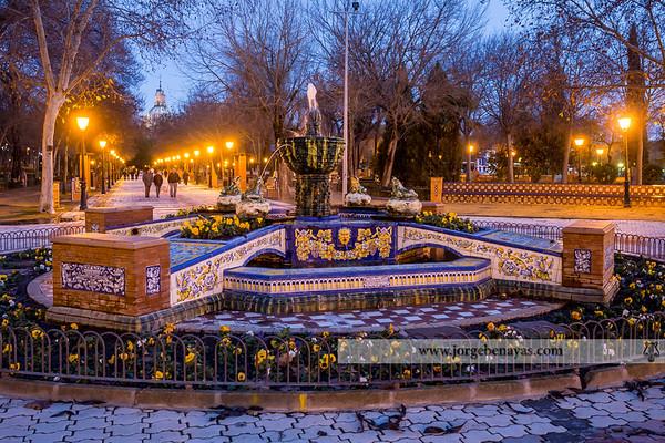 Hora azul en los Jardines de el Prado