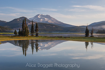 South Sister Reflection In Sparks Lake, Central Oregon Cascades