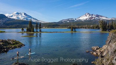 Stand Up Paddleboarding At Sparks Lake, Central Oregon Cascades