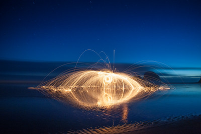 Night Landscape , Sparks on the Beach
