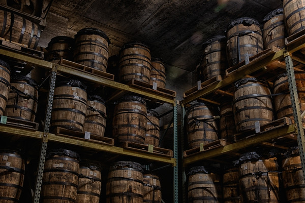 Barrels of whiskey in the distillery.